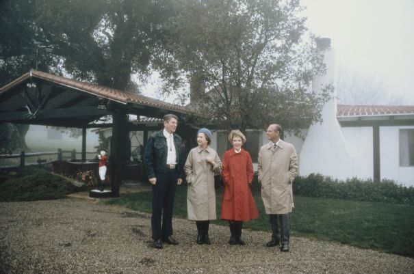 1983: The Queen And Prince Philip Meet With Ronald And Nancy Reagan