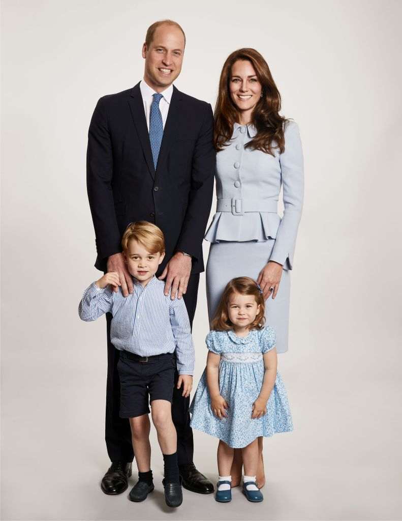 Kate Middleton, Prince William, Prince George and Princess Charlotte in their 2017 family Christmas card photo