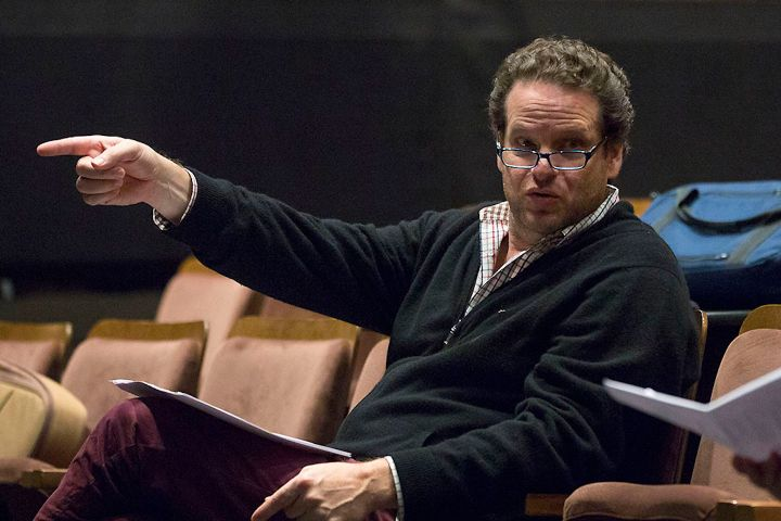 Albert Schultz speaks to the cast of 'Spoon River' during a dress rehearsal in October 2014.