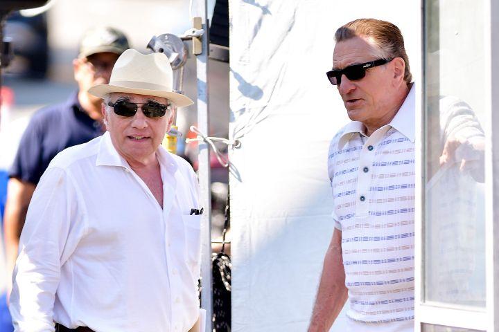"Martin Scorsese and Robert De Niro seen on location for ""The Irishman"" on September 25, 2017 in Huntington Station, New York."