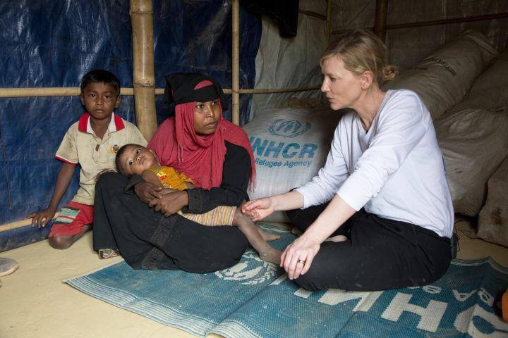 UNHCR Goodwill Ambassador Cate Blanchett meets 28 year old Jhura who fled Myanmar with her two children when her village was attacked six months ago. PHOTO: UNHCR