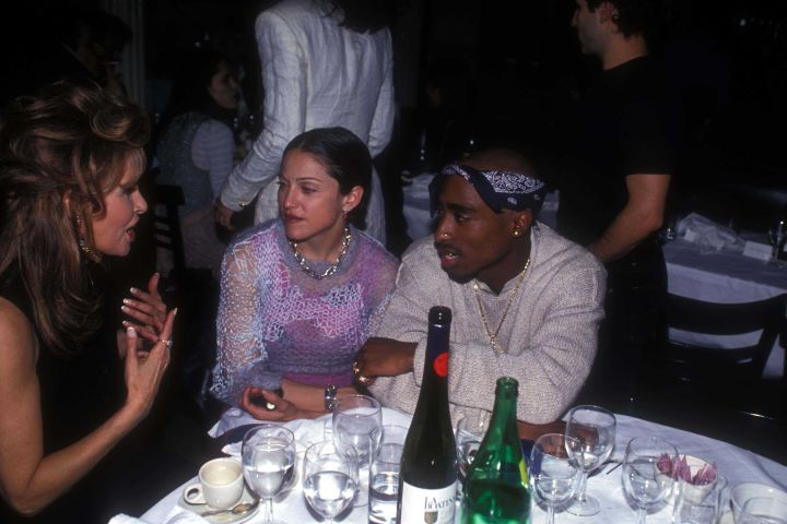 Raquel Welch, Madonna and Tupac Shakur at the 1994 Interview Magazine party in New York