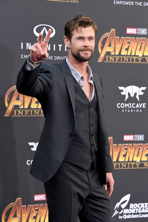 Chris Hemsworth Flips The Peace Sign