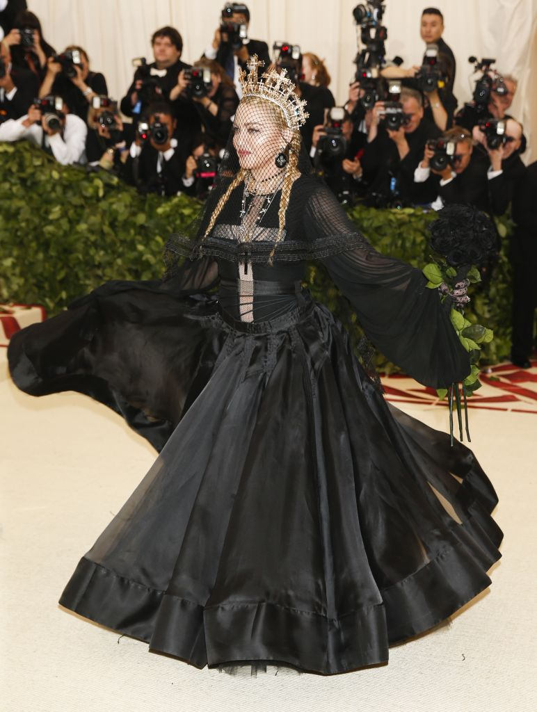 Madonna donned a long black gown for the star-studded event