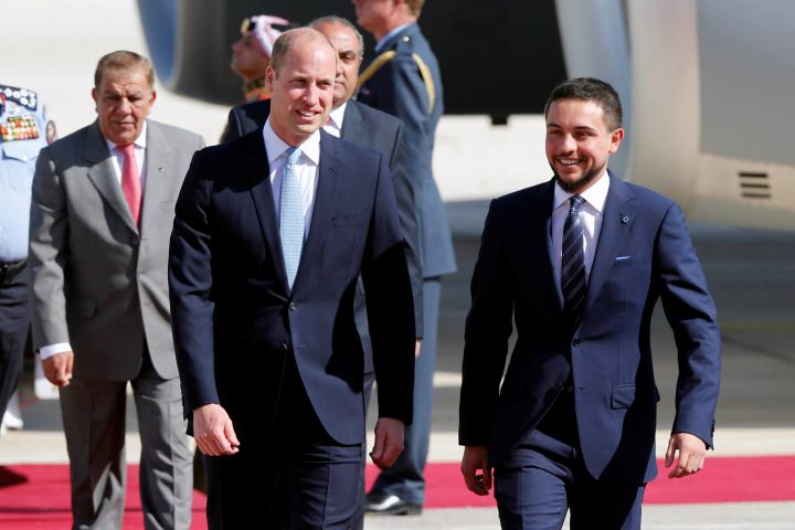 Prince William was welcomed by Jordan's Crown Prince Hussein bin Abdullah II as he landed in Amman on Sunday
