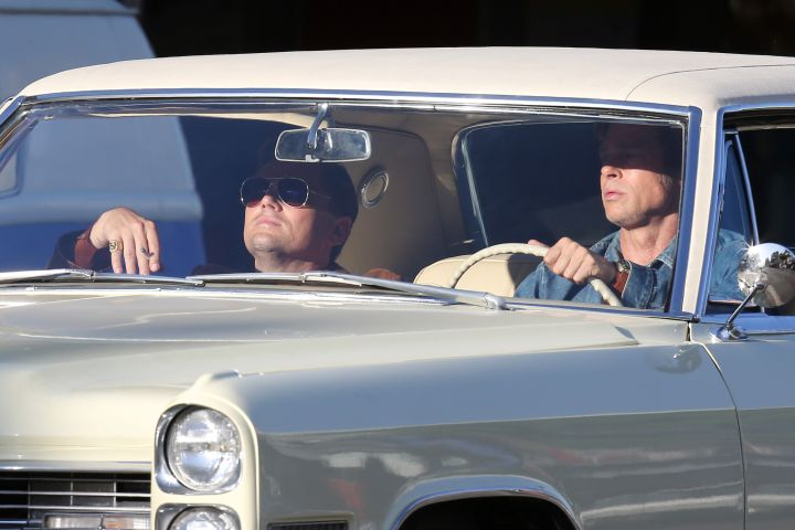 """Brad Pitt and Leonardo Dicaprio filming driving scene on Hollywood Blvd for """"Once upon a time in Hollywood""""  Pictured: Brad Pitt and Leonardo Dicaprio Ref: SPL5011959 230718 NON-EXCLUSIVE Picture by: Clint Brewer / SplashNews.com  Splash News and Pictures Los Angeles: 310-821-2666 New York: 212-619-2666 London: 0207 644 7656 Milan: +39 02 4399 8577 Sydney: +61 02 9240 7700 photodesk@splashnews.com  World Rights"""