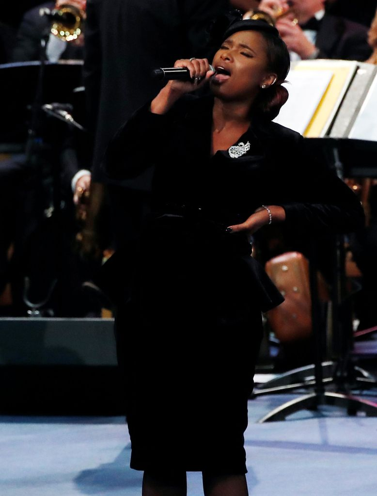 Jennifer Hudson performs at the funeral service for the late singer Aretha Franklin at the Greater Grace Temple in Detroit, Michigan, U.S., August 31, 2018. REUTERS/Mike Segar