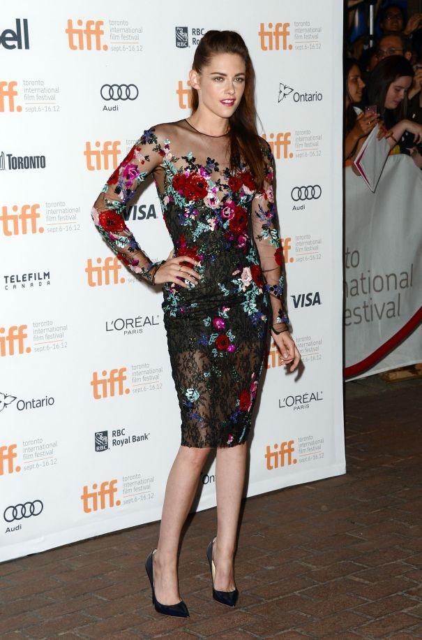 Kristen Stewart In Feminine Florals And Sheer