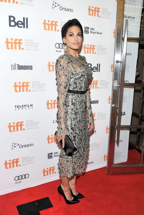 Eva Mendes Turns Heads In Lace Gown