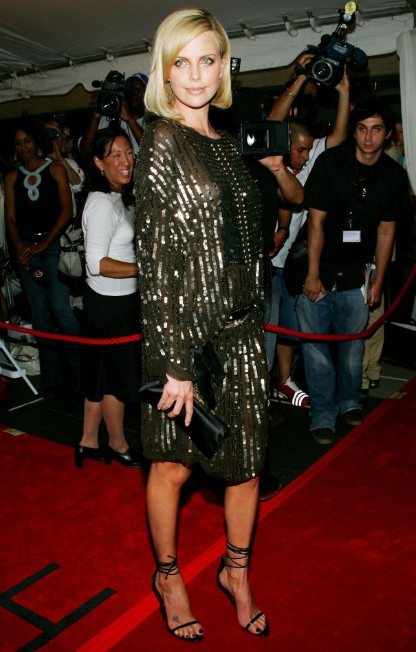 Charlize Theron Dazzles In Beaded Gold