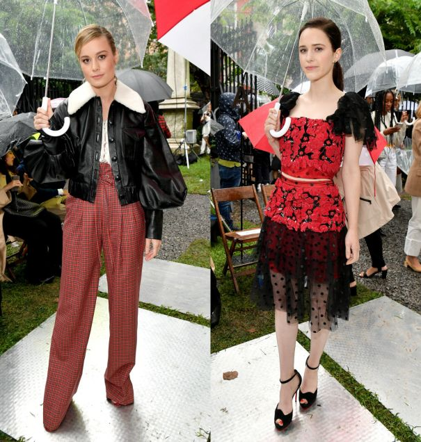 Rachel Brosnahan And Brie Larson Attend Rainy Show