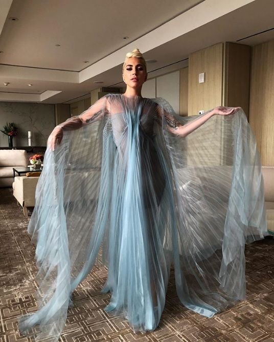 Lady Gaga Makes Waves In Haute Couture Organza