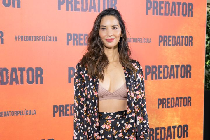 """Olivia Munn sports a floral A.L.C. suit with a nude bralette while attending the photocall for her new film """"The Predator"""" in Madrid."""