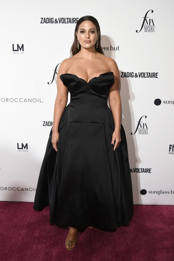 Ashley Graham Steps Out In Plunging Gown