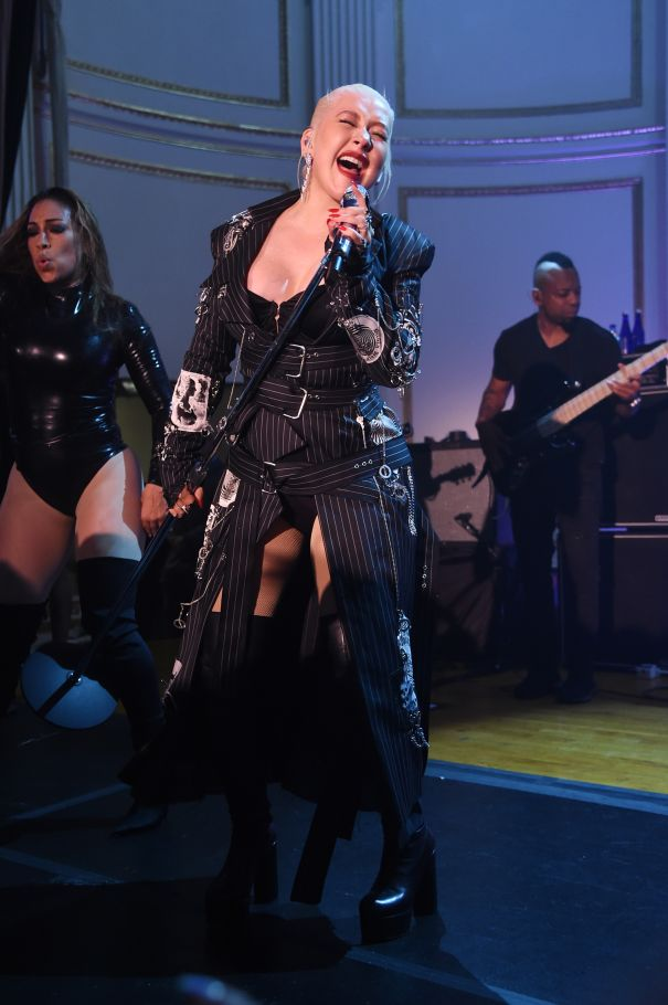Christina Aguilera Performs For Fashion Week