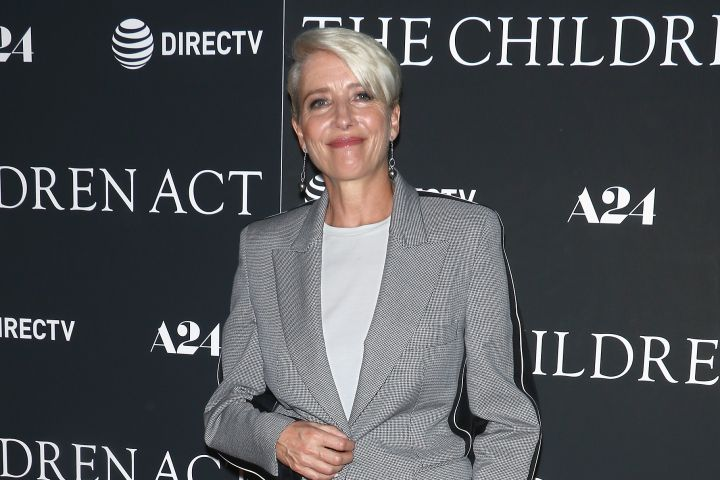 """Actress Emma Thompson, 59, is spotted in a Stella McCartney sport suit on the red carpet for """"The Children Act"""" in NYC."""