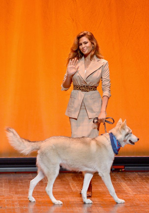 Eva Mendes Takes A Dog On The Catwalk