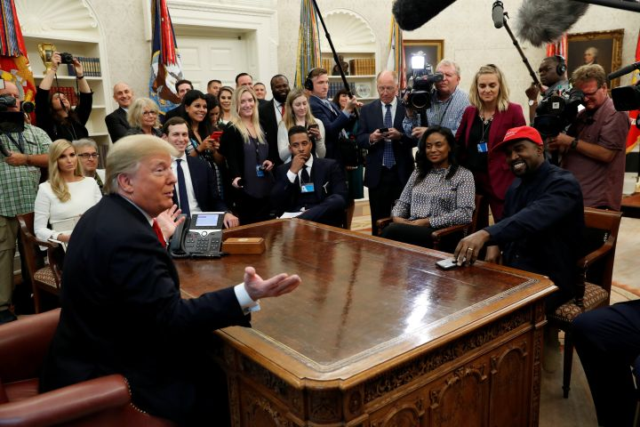 U.S. President Donald Trump speaks during a meeting with rapper Kanye West in the Oval Office at the White House in Washington, U.S., October 11, 2018.