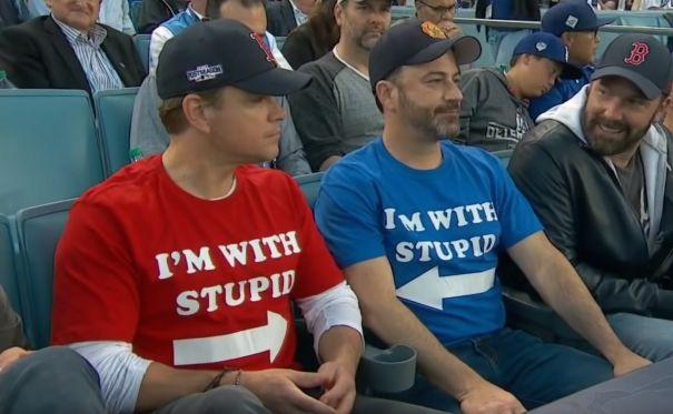 Matt Damon And Jimmy Kimmel At World Series Game