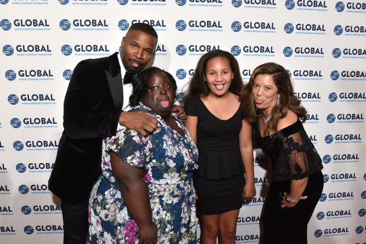 Jamie Foxx, his sister DeOndra Dixon, his daughter Analise Foxx and Michelle Sie Whitten on the red carpet at the Global Down Syndrome event (Photo by Tom Cooper/Getty Images for Global Down Syndrome Foundation)