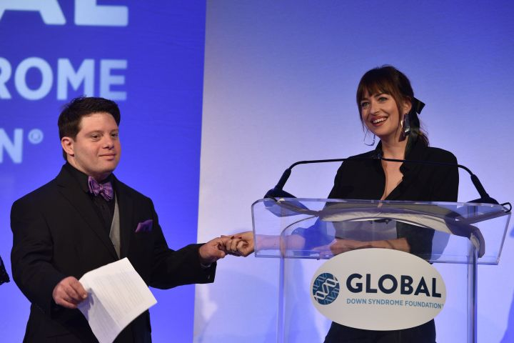 Dakota Johnson at the Global Down Syndrome Foundation 10th anniversary BBBY fashion show (Photo by Tom Cooper/Getty Images for Global Down Syndrome Foundation)