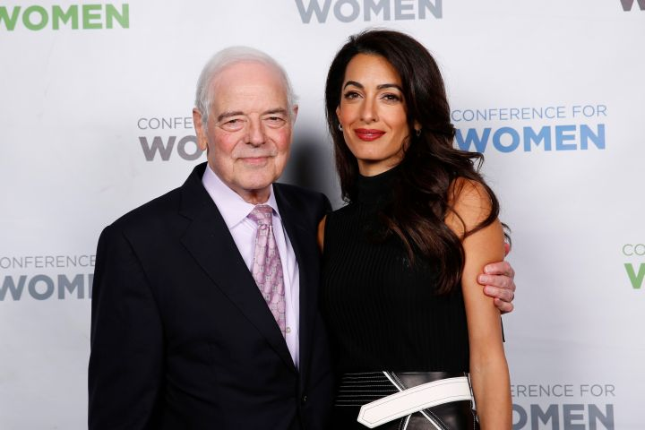 Broadcaster Nick Clooney and Human rights lawyer Amal Clooney pose together backstage during 2018 Massachusetts Conference For Women