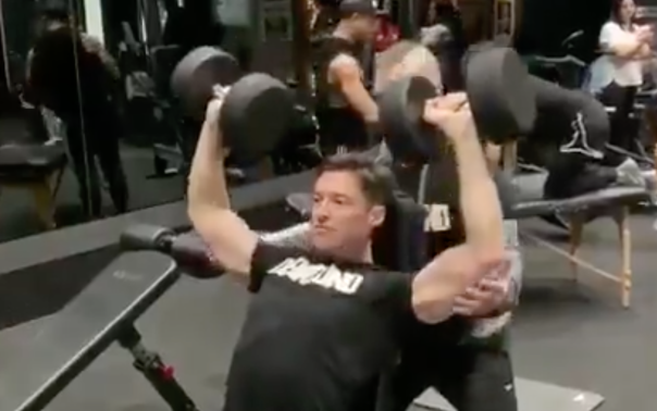 Hugh Jackman Sweats It Off In The Gym