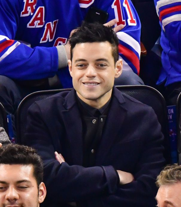Rami Malek Relaxes At The New York Rangers Game