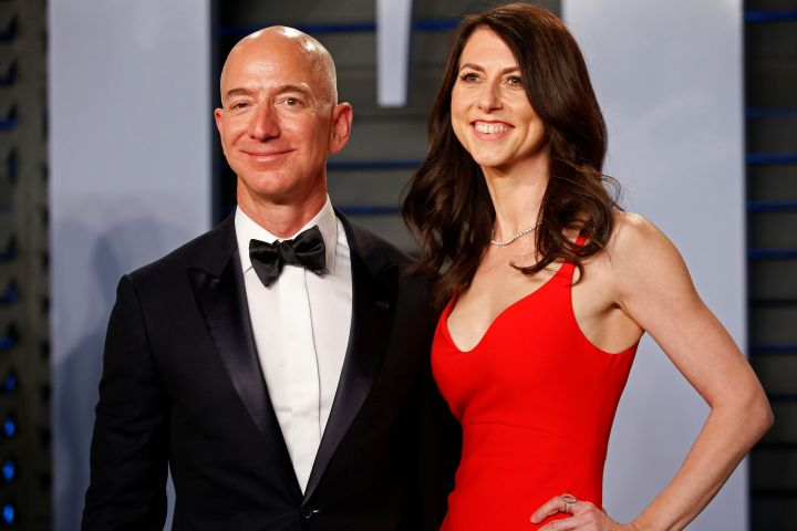 FILE PHOTO: Amazon CEO Jeff and wife MacKenzie Bezos arrive at the 2018 Vanity Fair Oscar Party in Beverly Hills, California.