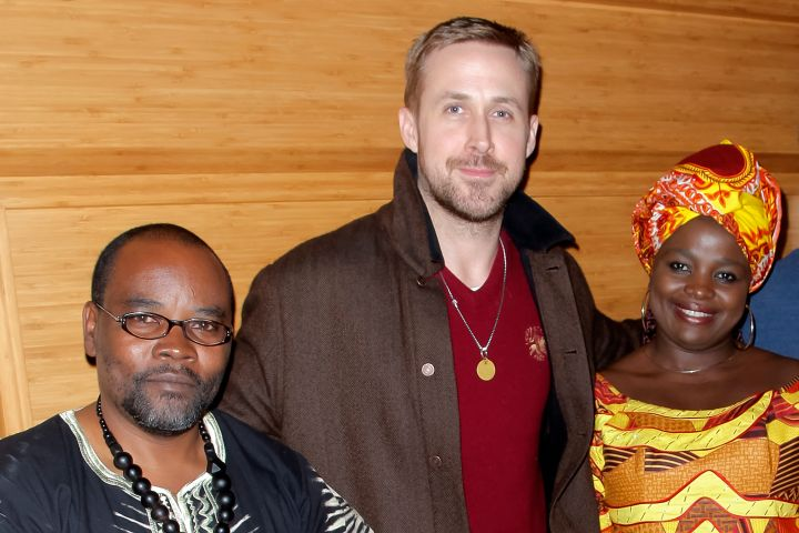 Fidel Bafilemba, Ryan Gosling, Chouchou Namegabe attend the discussion and signing for 'Congo Stories' at The West Hollywood Library on December 10, 2018