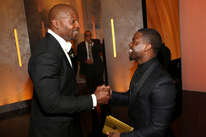 Actor Terry Crews (L) and actor Kevin Hart attends the 45th NAACP Image Awards presented by TV One at Pasadena Civic Auditorium on Feb. 22, 2014 in Pasadena, Calif.