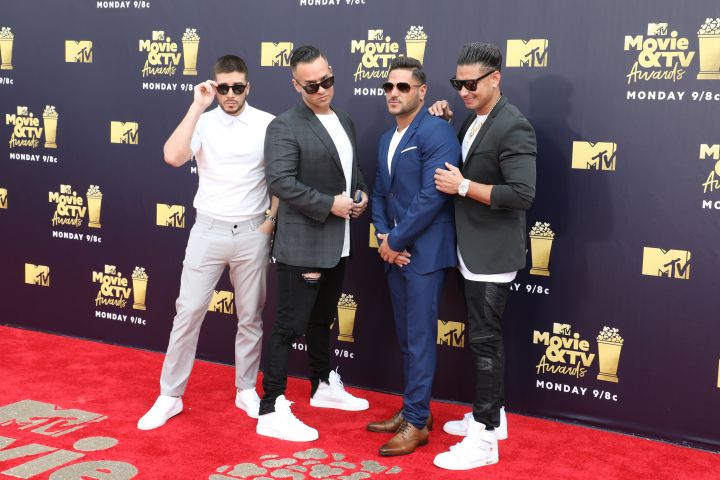 Mandatory Credit: Photo by Chelsea Lauren/REX/Shutterstock (9718369i) Jersey Shore cast - Vinny Guadagnino, Michael The Situation Sorrentino, Ronnie Ortiz-Magro and Paul DelVecchio MTV Movie & TV Awards, Arrivals, Los Angeles, USA - 16 Jun 2018