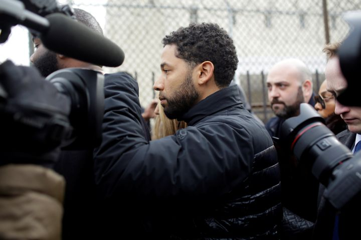 Jussie Smollett exits Cook County Department of Corrections after posting bail in Chicago on Thursday, Feb. 21, 2019. Photo: REUTERS/Joshua Lott