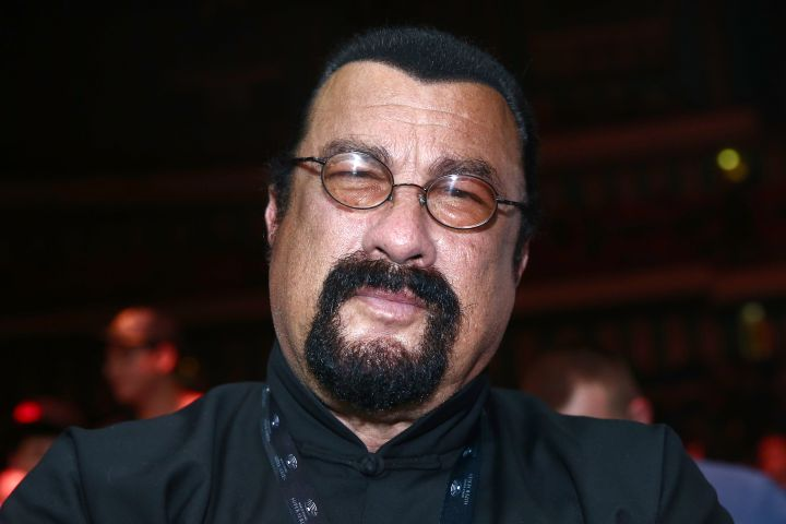 MOSCOW, RUSSIA - JULY 21, 2018: American actor Steven Seagal attends the WBSS (World Boxing Super Series) cruiserweight final at Moscow's Olympiyskiy Arena. Valery Sharifulin/TASS (Photo by Valery SharifulinTASS via Getty Images)