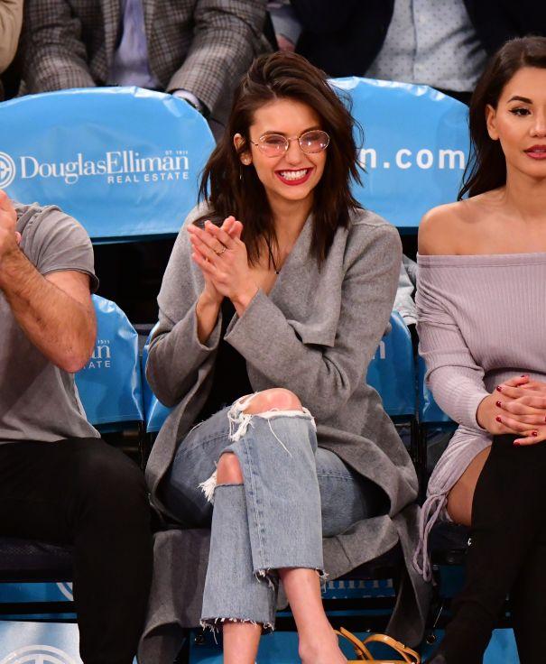 Nina Dobrev Cheers For New York Knicks