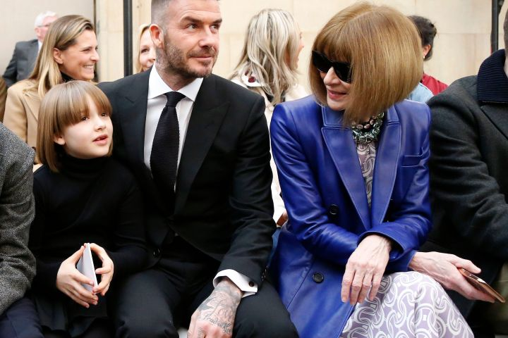 Mandatory Credit: Photo by WWD/REX/Shutterstock (10107639l) Harper Beckham, David Beckham and Anna Wintour in the front row Victoria Beckham show, Front Row, Fall Winter 2019, London Fashion Week, UK - 17 Feb 2019