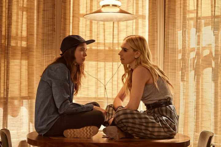 "Ellen Page as ""Shawna Hawkins"" with ""Claire"" played by Zosia Mamet."