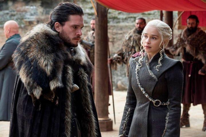Kit Harington and Emilia Clarke. Photo by: Macall B. Polay/HBO via AP