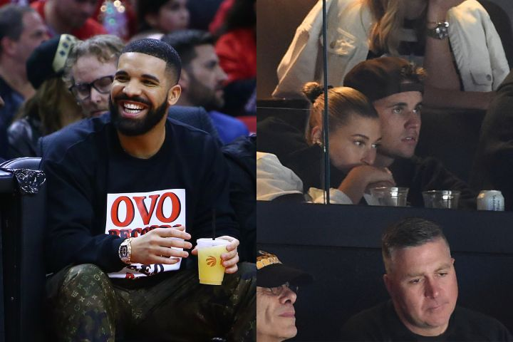 Drake, Hailey Baldwin and Justin Bieber. Photo: Getty Images