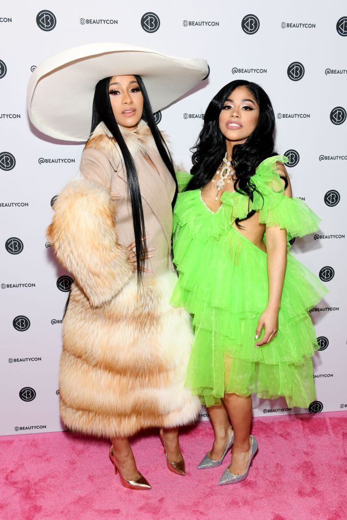 Cardi B and her sister Hennessy Carolina at the Beautycon NYC red carpet. Photo by Noam Galai/Getty Images for Beautycon