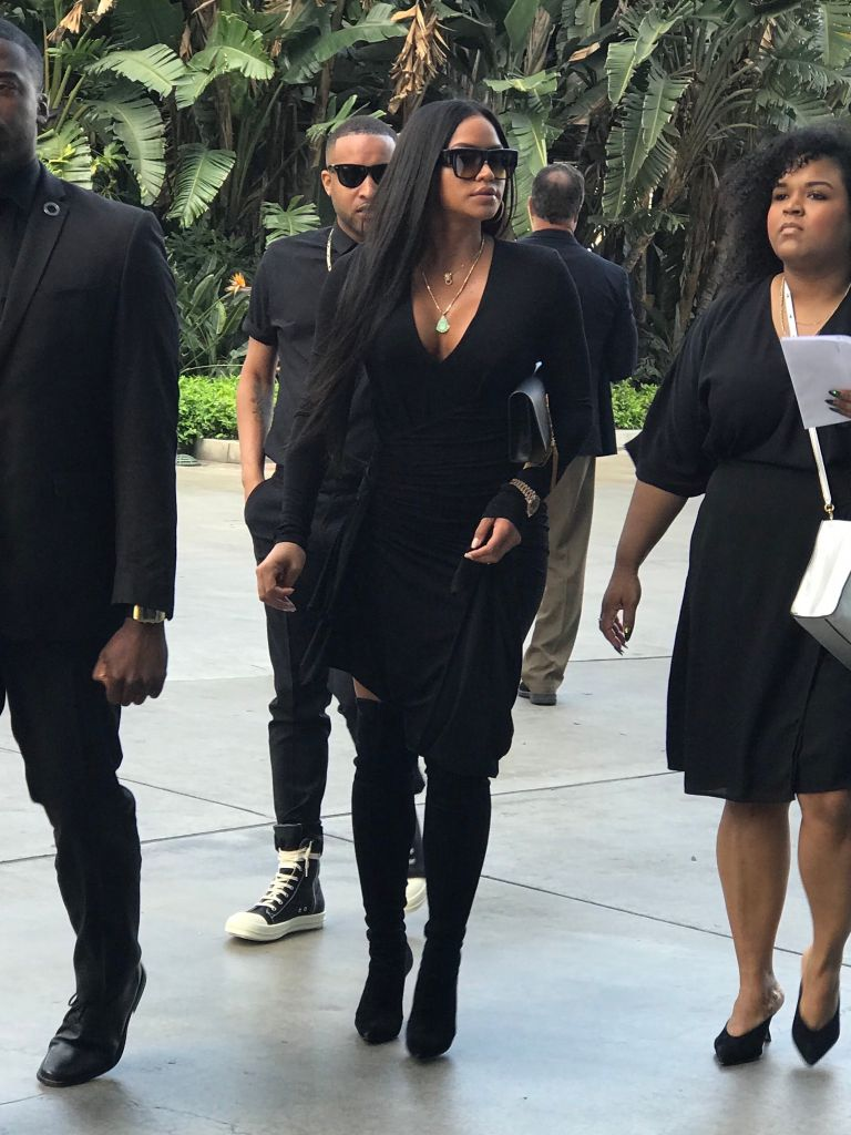 Fellow performer Cassie was spotted arriving at Hussle's funeral ahead of the service. – Splash News