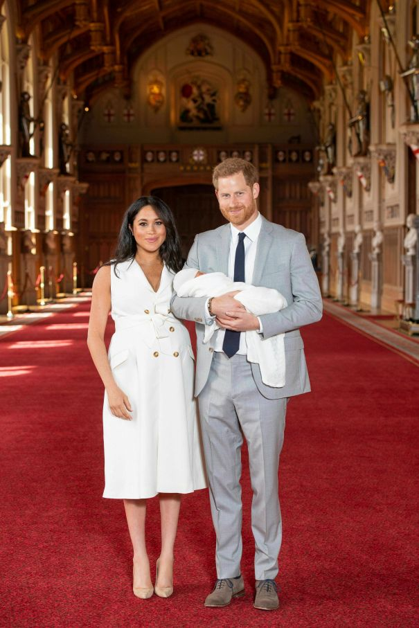 Prince Harry And Meghan Markle Pose With Baby Sussex