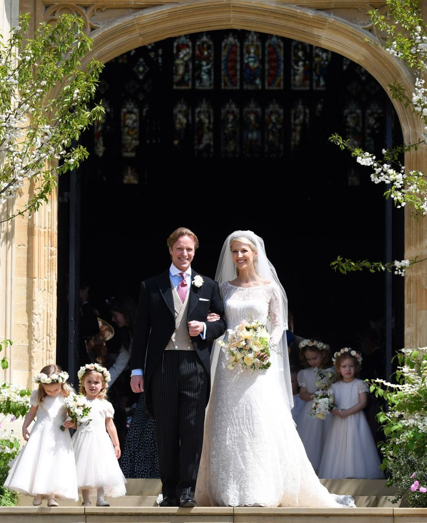 Thomas Kingston and Lady Gabriella Windsor leave St George's Chapel after their wedding on May 18, 2019 in Windsor, England. (Photo by Pool/Max Mumby/Getty Images)