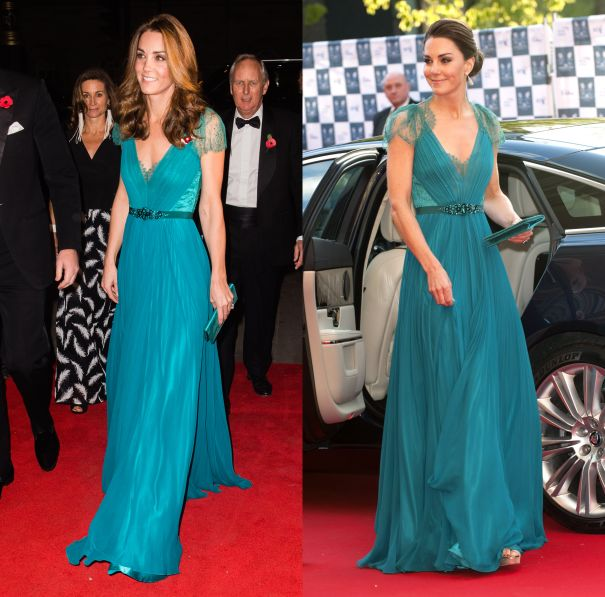 November 2018 & May 2012 - Jenny Packham Turquoise Gown
