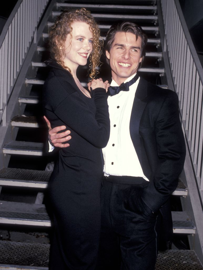 Actress Nicole Kidman and actor Tom Cruise attend the 19th Annual American Film Institute (AFI) Lifetime Achievement Award Salute to Kirk Douglas on March 7, 1991 at Beverly Hilton Hotel in Beverly Hills, California. (Photo by Ron Galella, Ltd./WireImage)