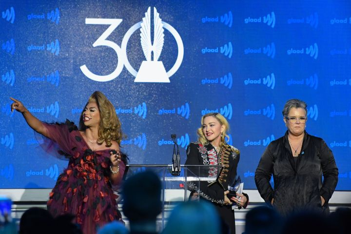 Shangela, Madonna and Rosie O'Donnell at the 30th Annual GLAAD Media Awards – Andrew H. Walker/Variety/REX/Shutterstock