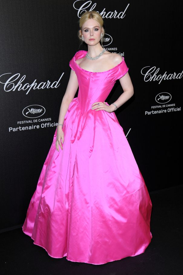Elle Fanning Stands Out In Hot Pink