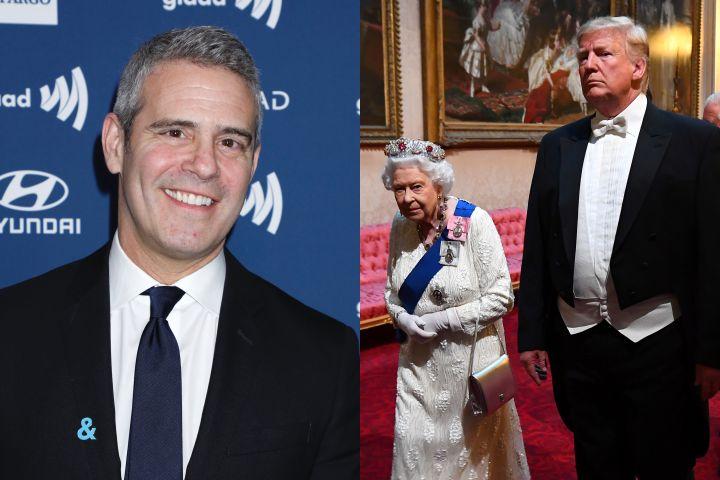 Andy Cohen; Queen Elizabeth and Donald Trump. Photo: Gregory Pace/Shutterstock // Victoria Jones/Pool via REUTERS
