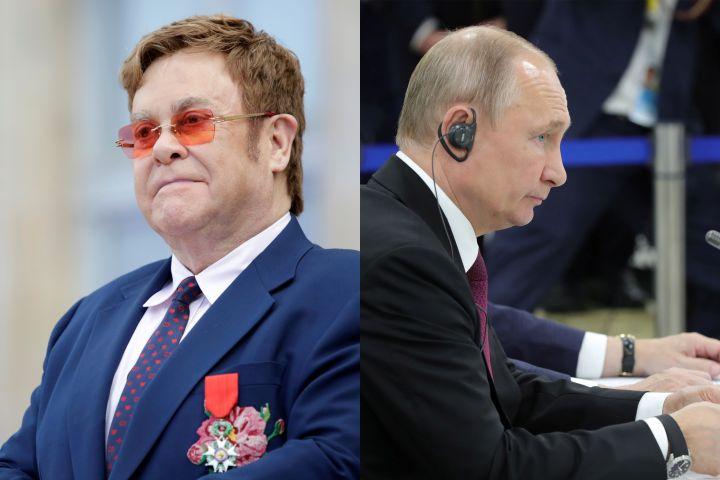 Elton John, Vladimir Putin. Photo: Reuters