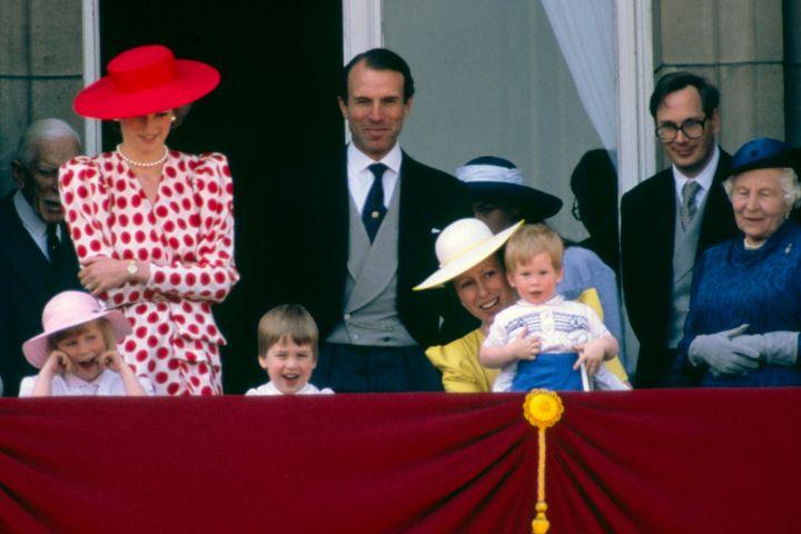 Zara Phillips, Princess Diana, Prince William, Captain Mark Phillips, Princess Anne Holding Prince Harry. Tim Graham Photo Library via Getty Images